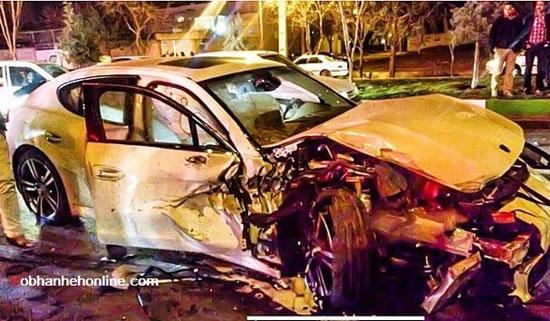 له شدن اتومبیل پورشه در شیراز بر اثر سانحه تصادف